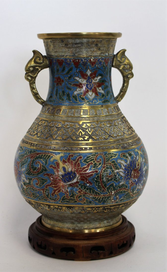 Antique 19th C. Oriental Cloisonne And Brass Urn