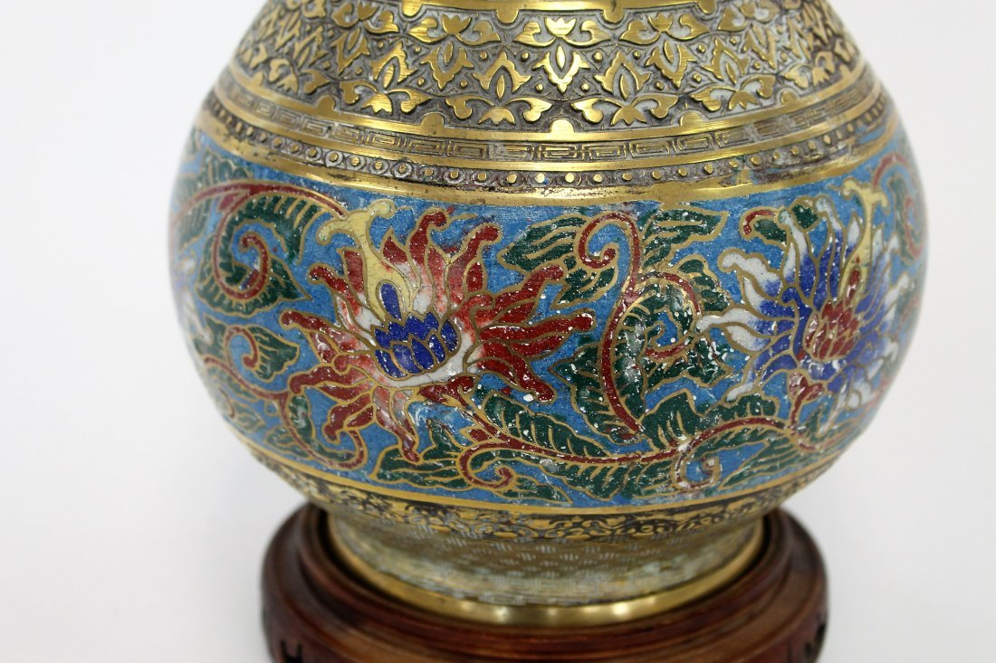 Antique 19th C. Oriental Cloisonne And Brass Urn - 2