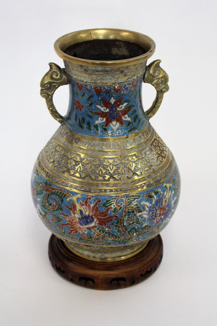 Antique 19th C. Oriental Cloisonne And Brass Urn - 3
