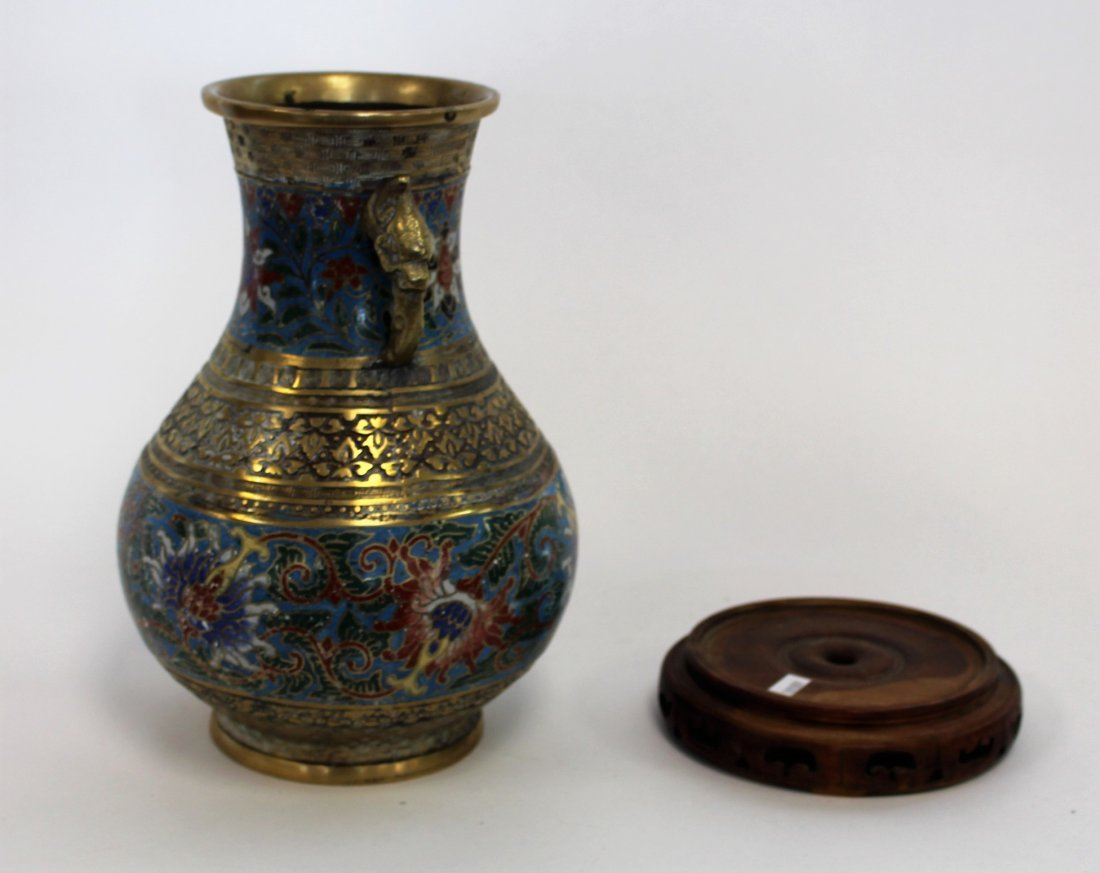 Antique 19th C. Oriental Cloisonne And Brass Urn - 4