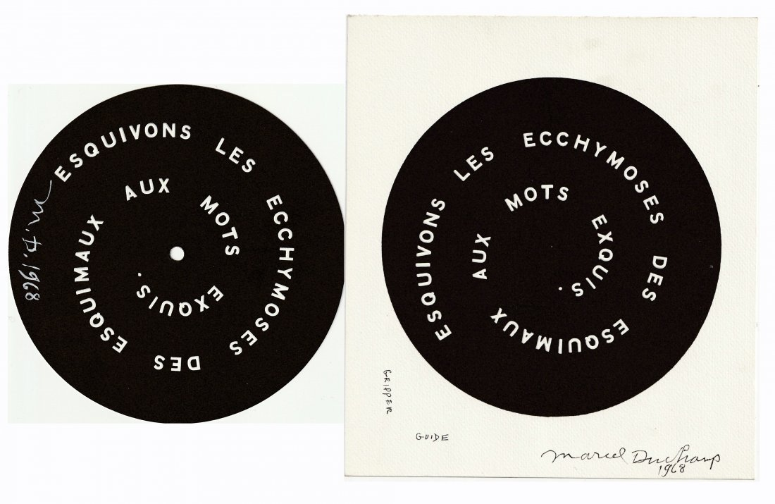 2 Signed MARCEL DUCHAMP 1968 SMS Shit Must Stop DECALS