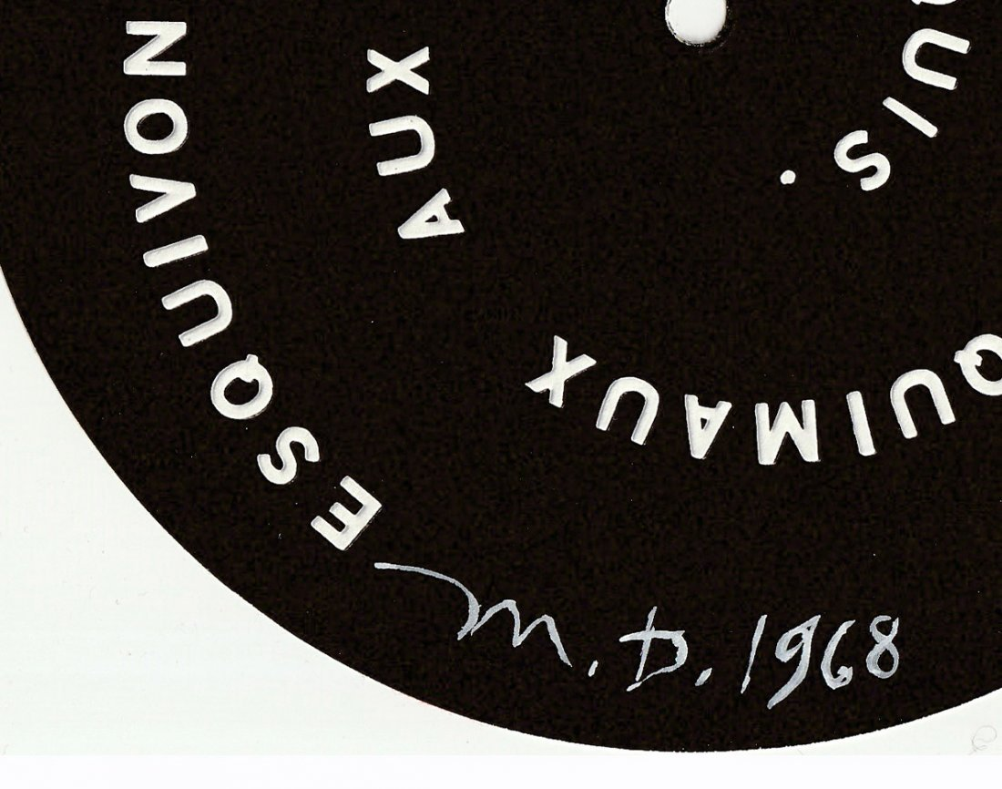 2 Signed MARCEL DUCHAMP 1968 SMS Shit Must Stop DECALS - 3