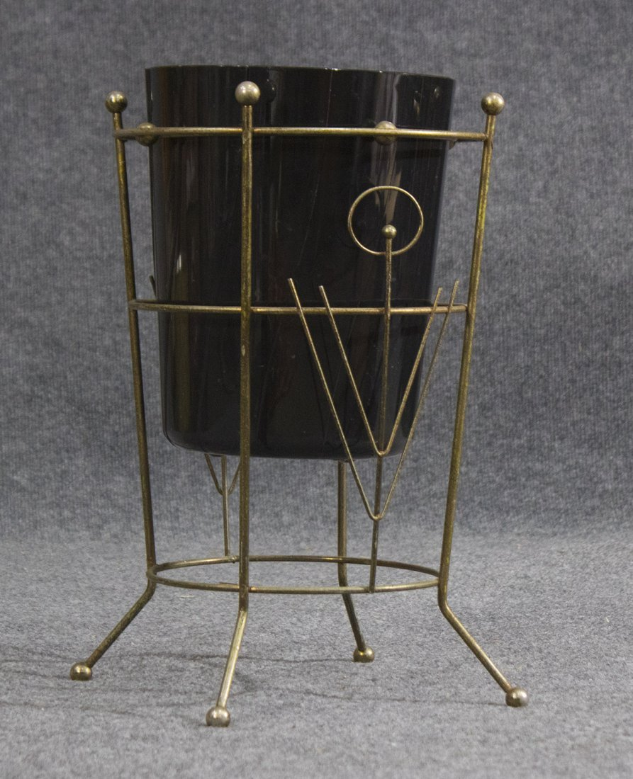 Mid-century modern brass and black lucite trash can