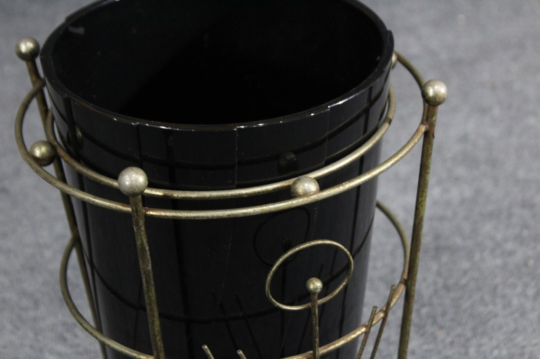 Mid-century modern brass and black lucite trash can - 2