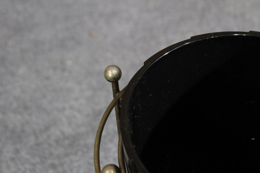 Mid-century modern brass and black lucite trash can - 4
