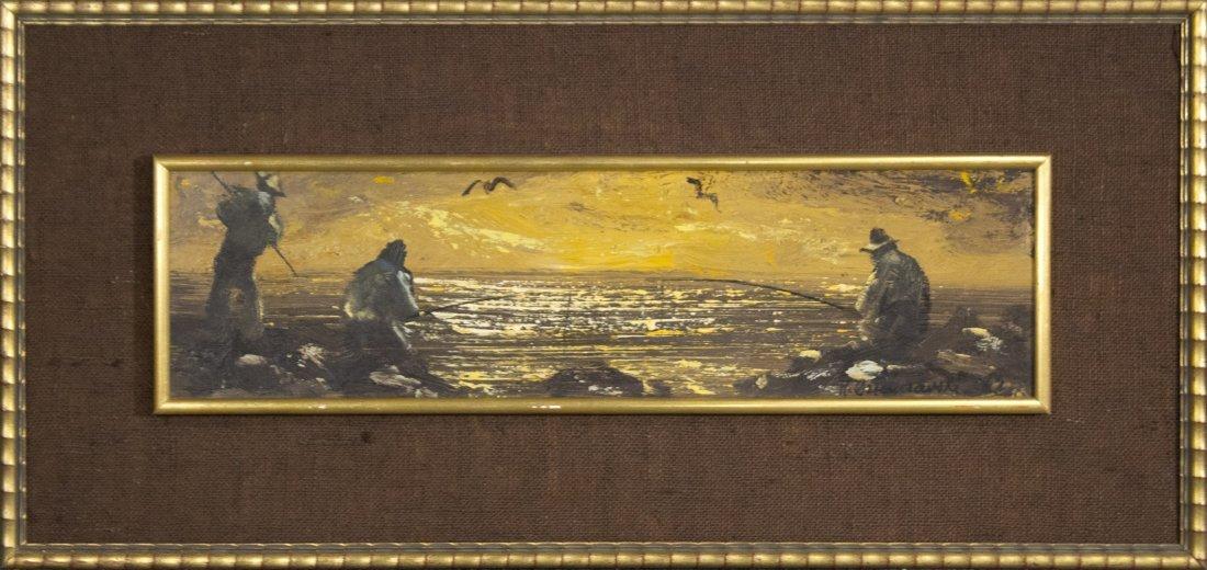 H. OZIMCZARSKI; Polish Artist, Oil/b SPEARFISHING