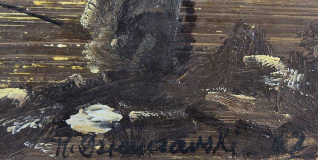 H. OZIMCZARSKI; Polish Artist, Oil/b SPEARFISHING - 2