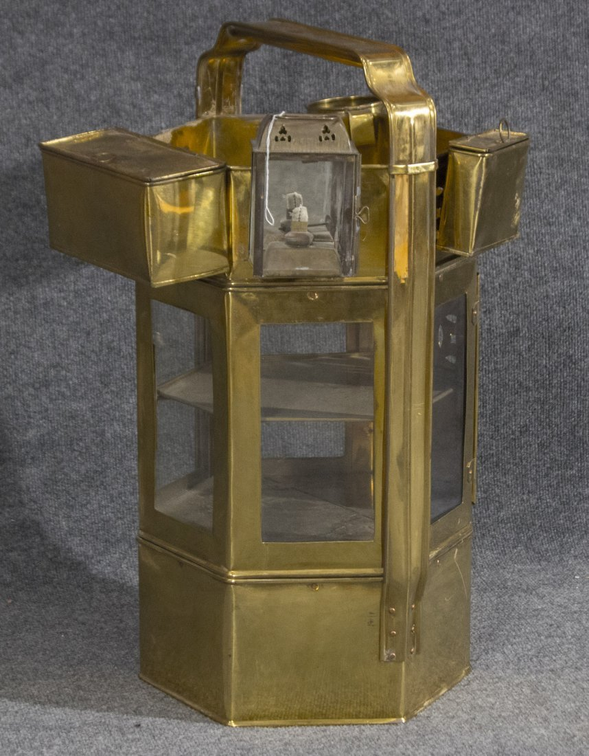 Brass miner meal bucket with hanging containers