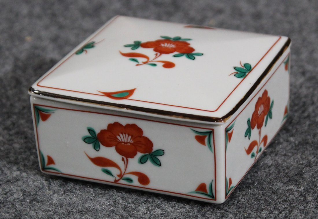 Tiffany & co trinket box with red flower
