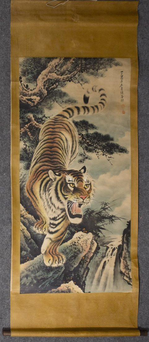 Antique Chinese Tiger Scroll on silk