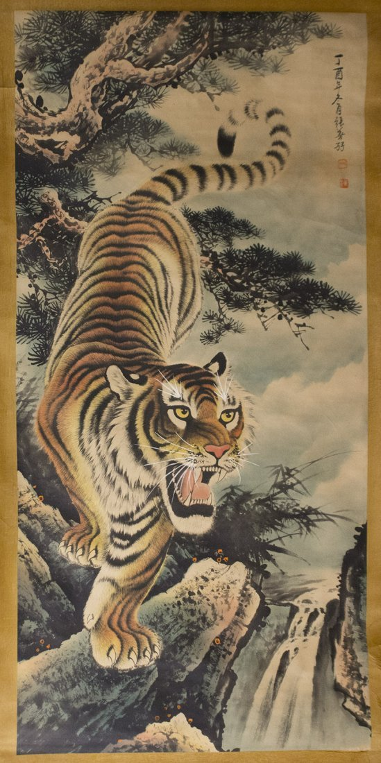 Antique Chinese Tiger Scroll on silk - 2
