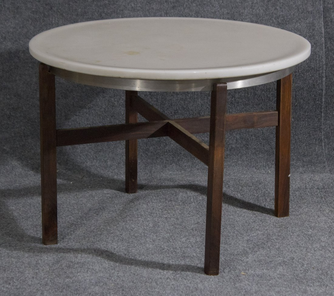 Mid-century danish modern marble top occasional table