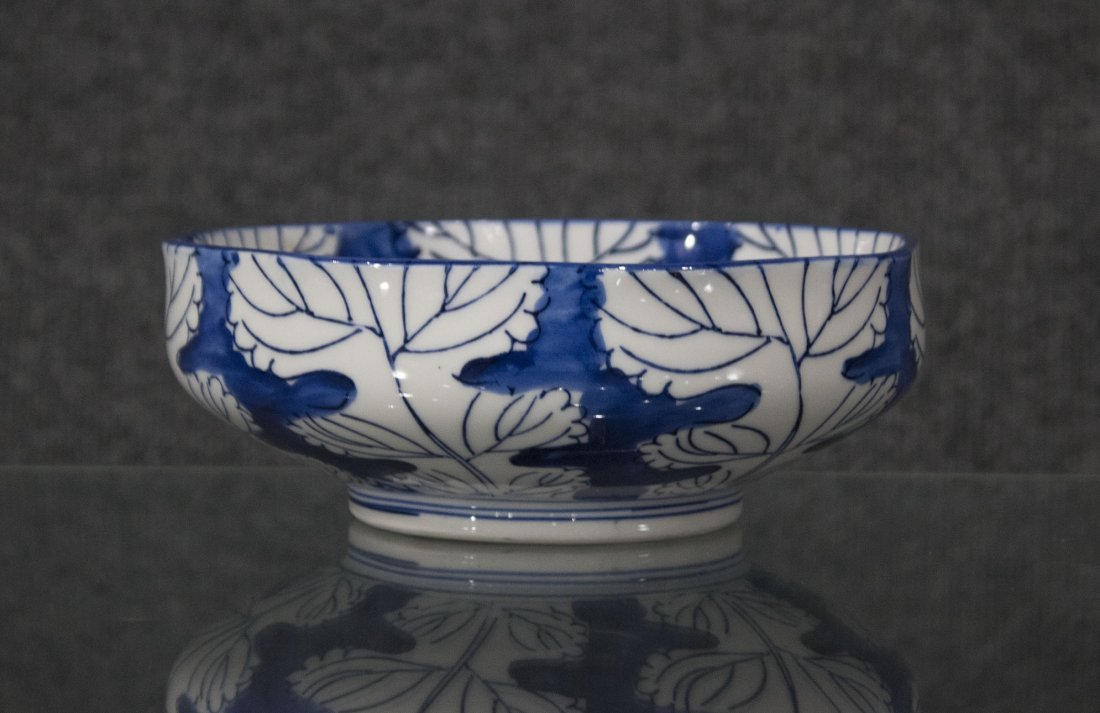 Japanese blue and white flowered bowl