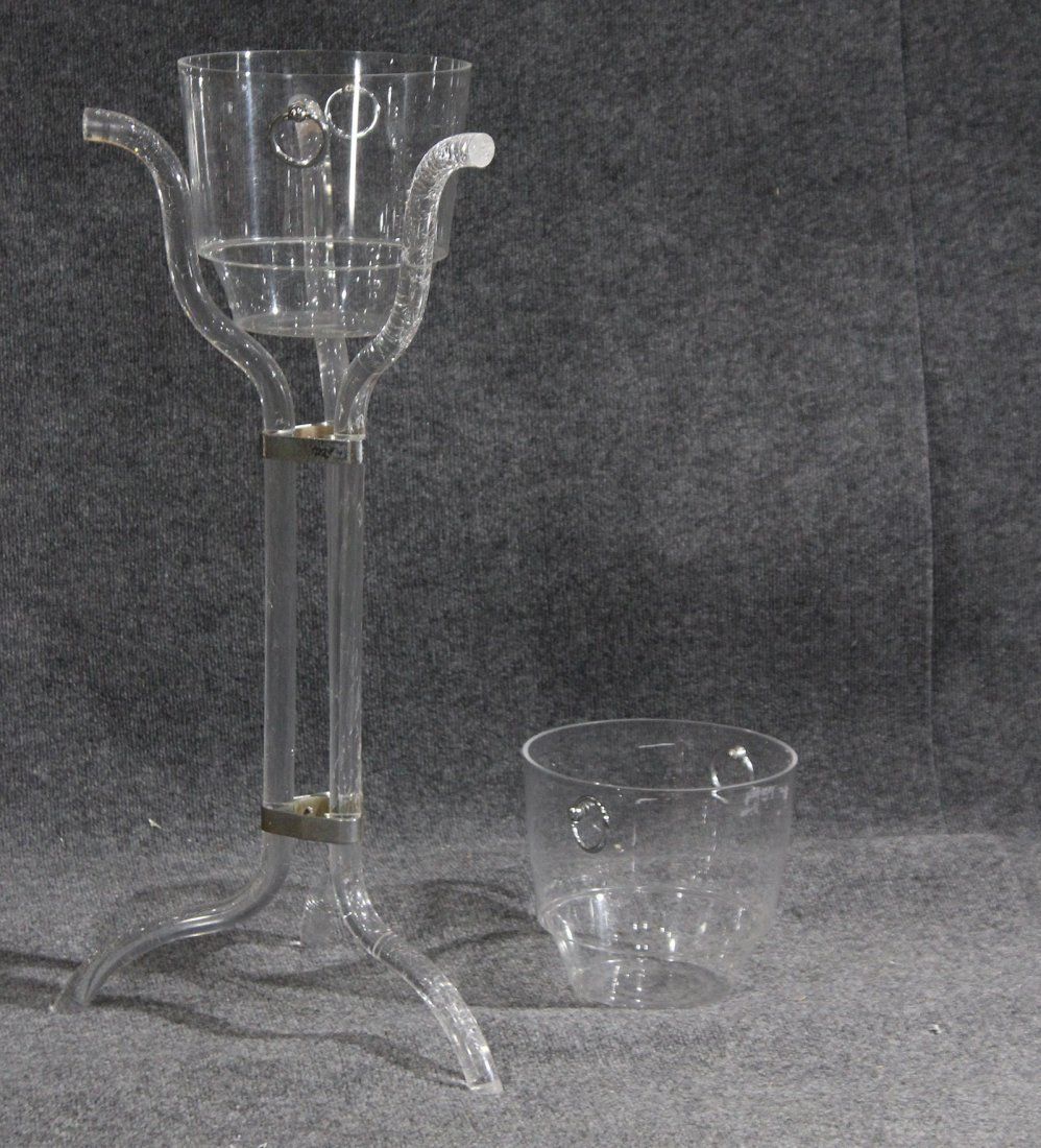 Mid-century style lucite ice bucket with stand