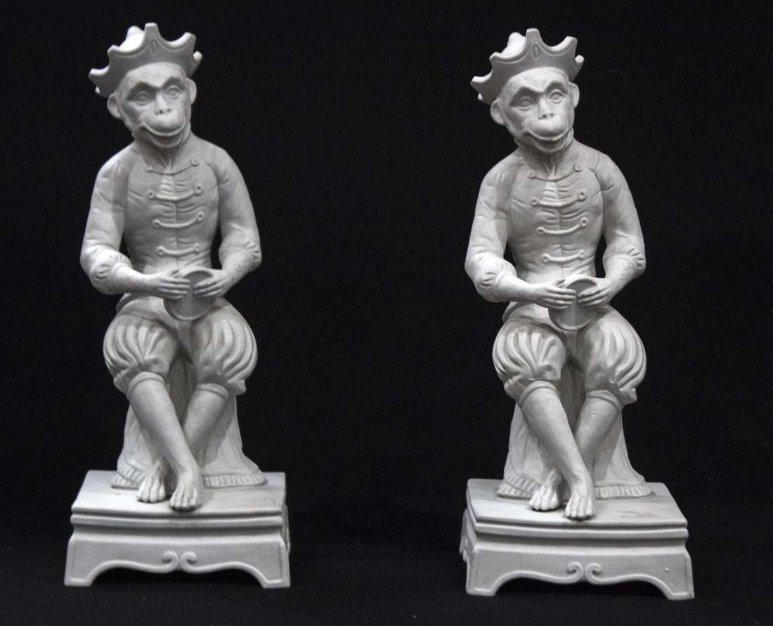 Pair 19th C. PARIAN JESTER MONKEY SEATED FIGURES 17 in.