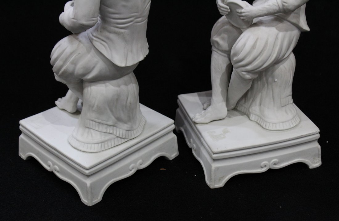 Pair 19th C. PARIAN JESTER MONKEY SEATED FIGURES 17 in. - 3