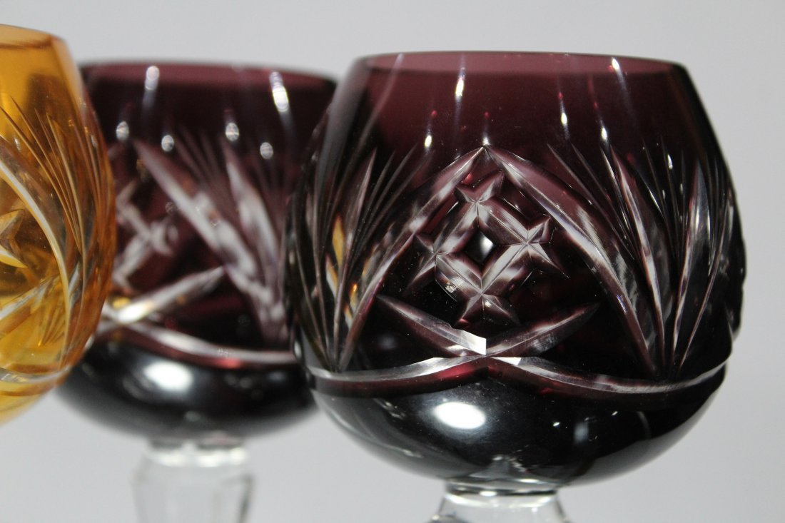 Set 6 Bohemian 3-COLOR CUT GLASS WINE GOBLET STEMWARE - 4
