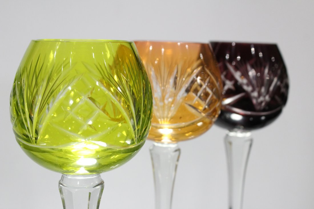 Set 6 Bohemian 3-COLOR CUT GLASS WINE GOBLET STEMWARE - 6
