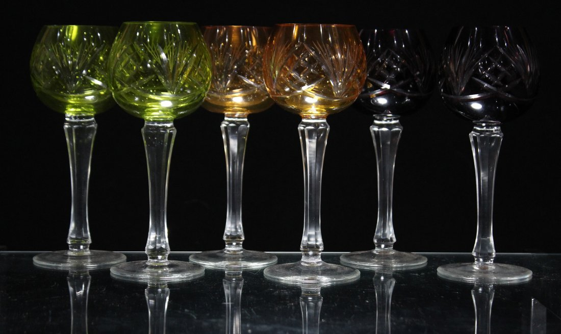 Set 6 Bohemian 3-COLOR CUT GLASS WINE GOBLET STEMWARE - 7