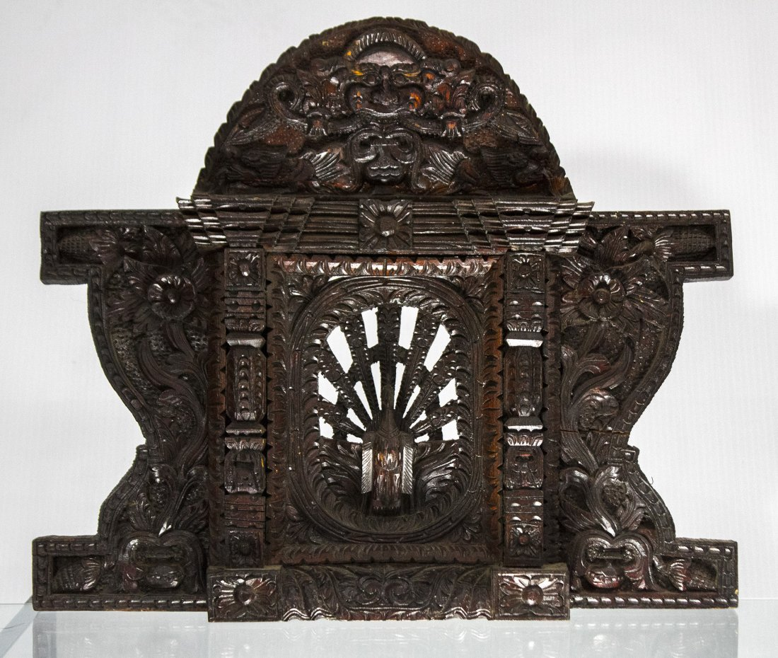 Antique Zitan Carved Teak Chinese Mantle w/ Peacock