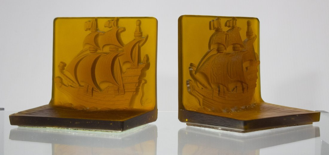 AMBER INTAGLIO GLASS GALLEON BOOKENDS - UNIQUE ITEM