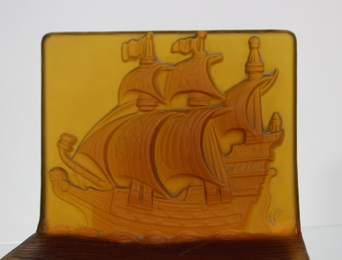 AMBER INTAGLIO GLASS GALLEON BOOKENDS - UNIQUE ITEM - 2