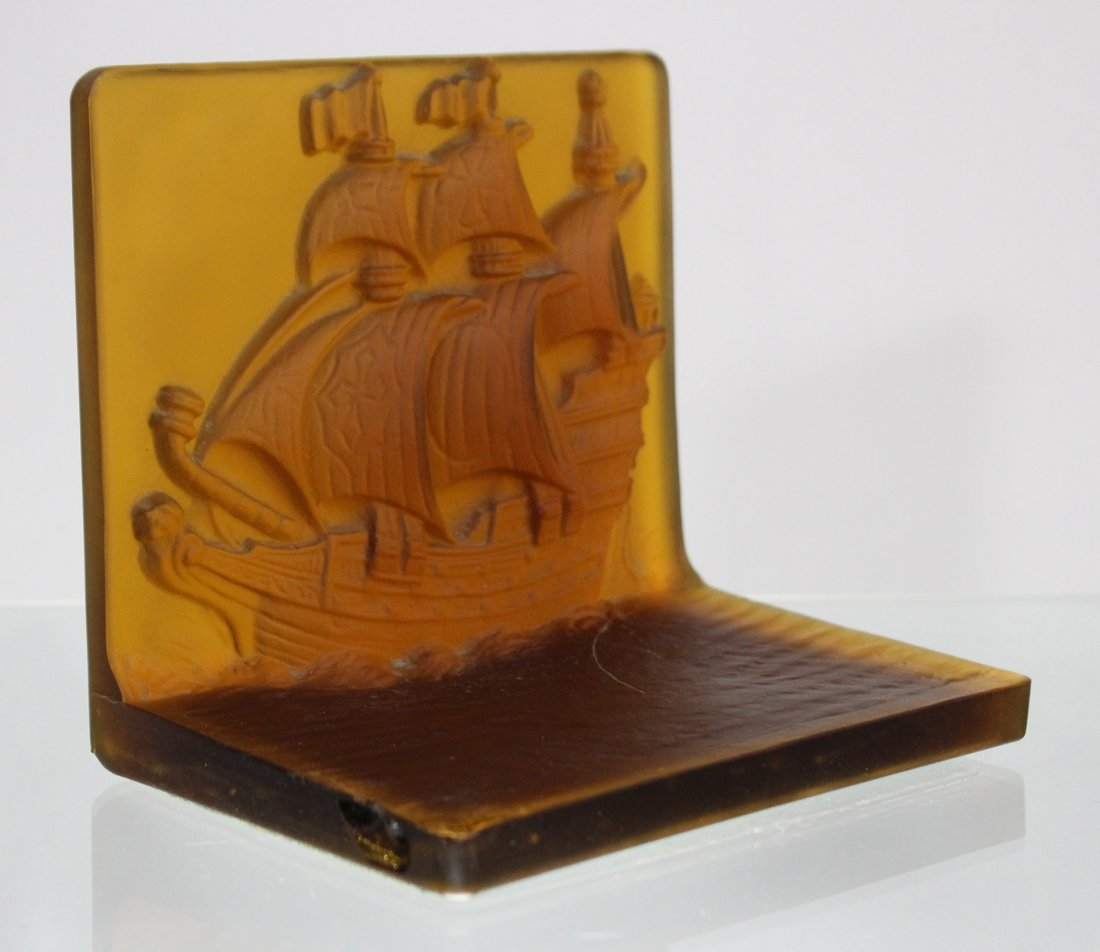 AMBER INTAGLIO GLASS GALLEON BOOKENDS - UNIQUE ITEM - 3