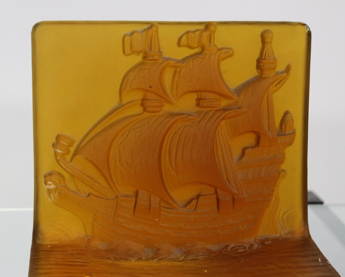 AMBER INTAGLIO GLASS GALLEON BOOKENDS - UNIQUE ITEM - 4