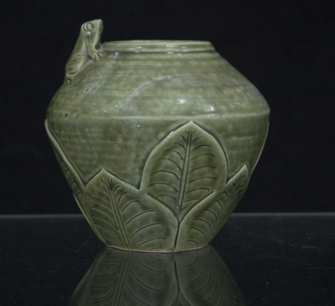 Unusual Green Celadon Ceramic LILY PAD VASE WITH FROG