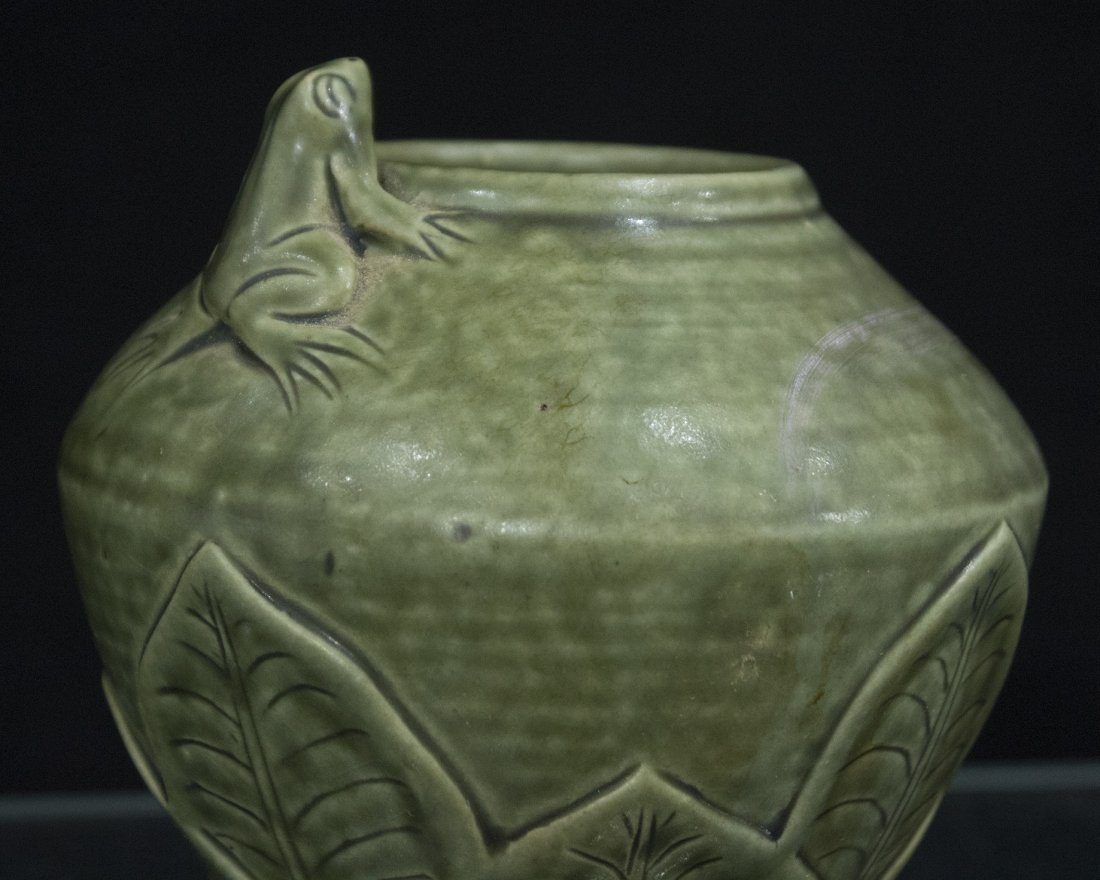 Unusual Green Celadon Ceramic LILY PAD VASE WITH FROG - 2