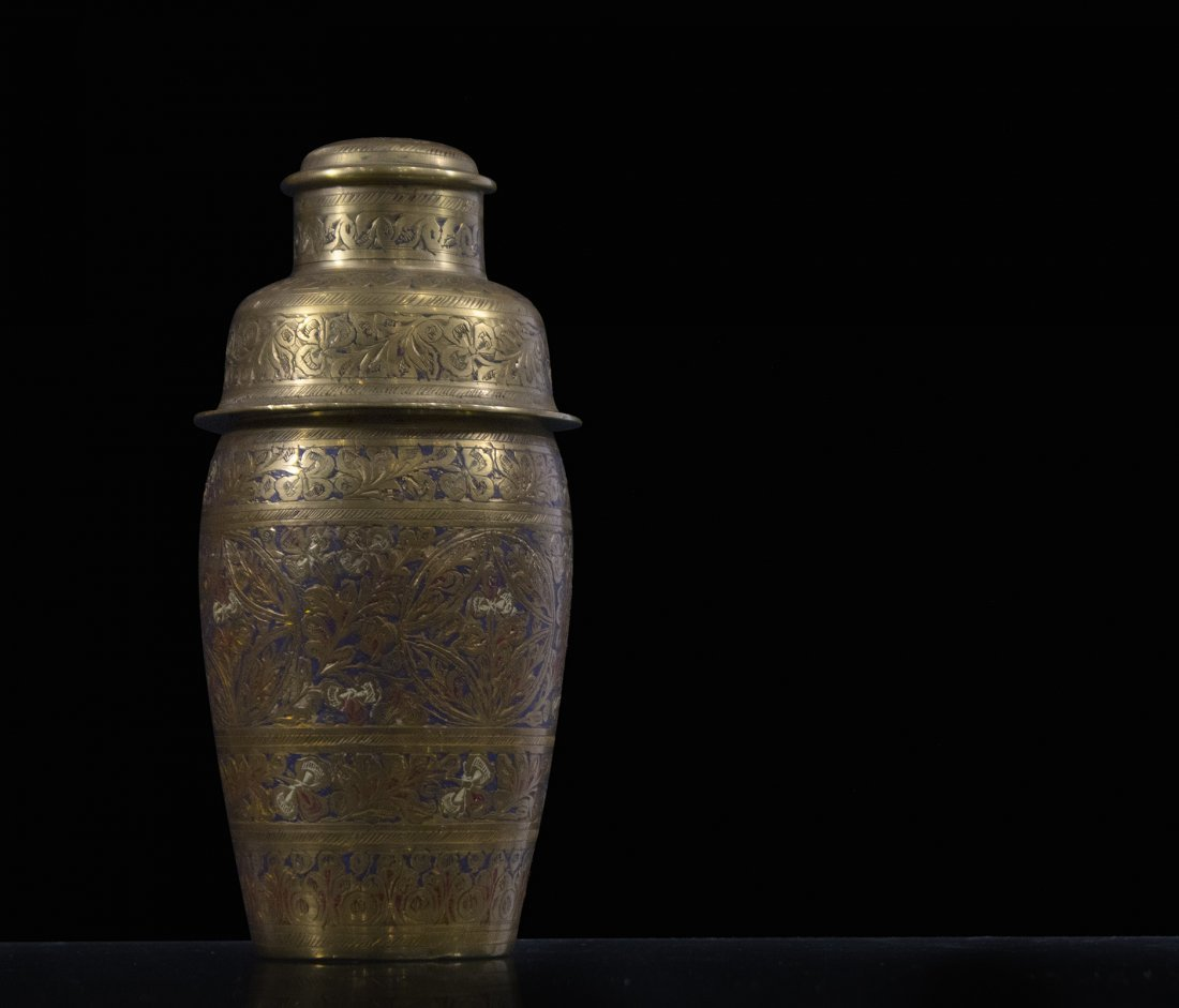 Intricate Incised and Enamel Brass COCKTAIL SHAKER