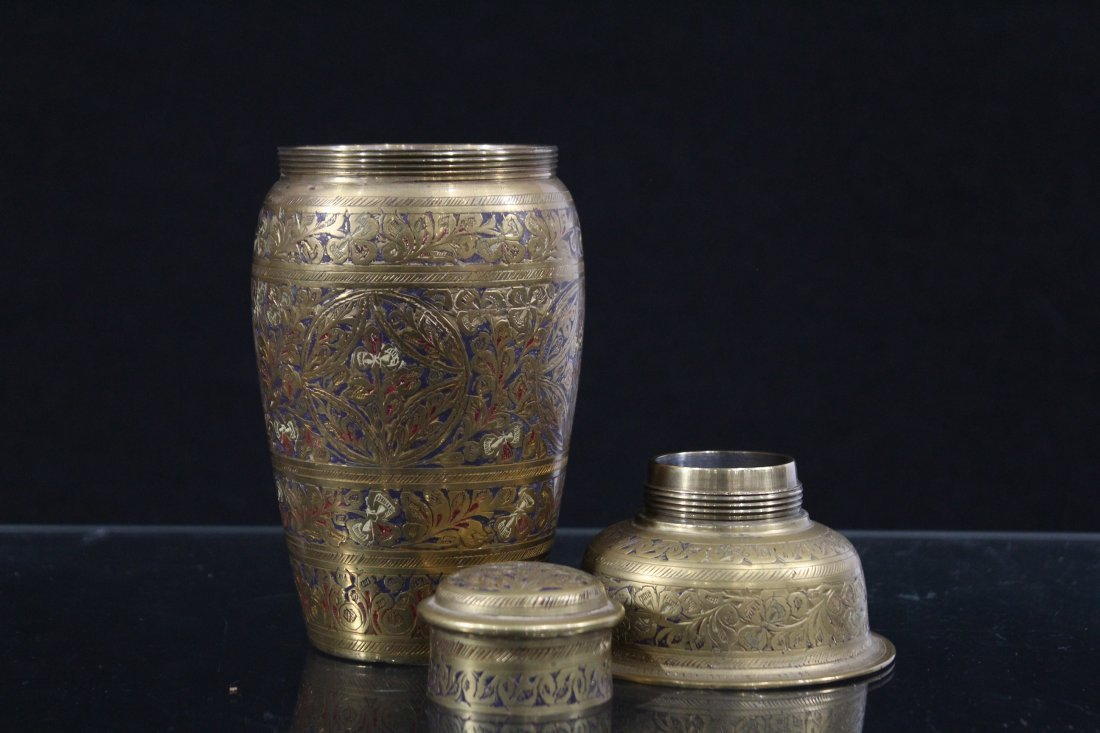 Intricate Incised and Enamel Brass COCKTAIL SHAKER - 2