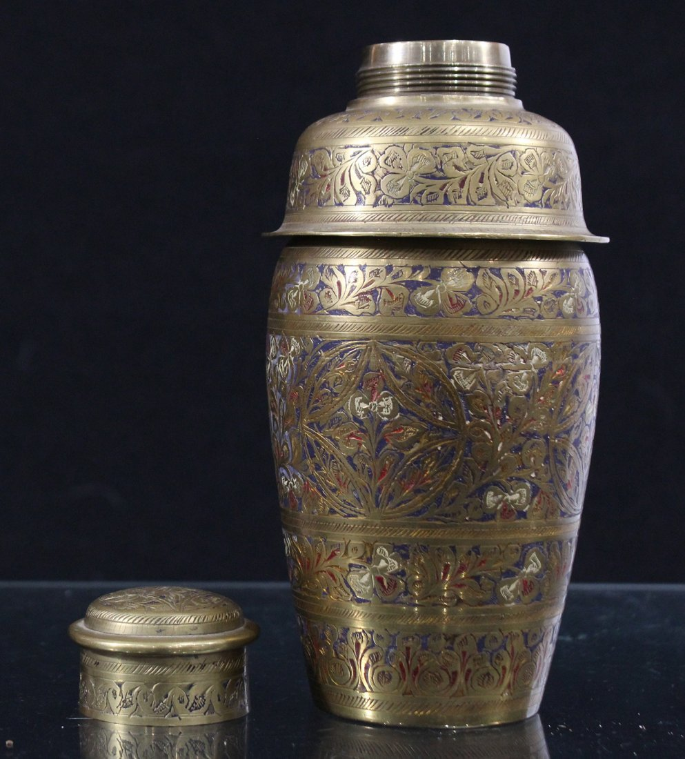 Intricate Incised and Enamel Brass COCKTAIL SHAKER - 5