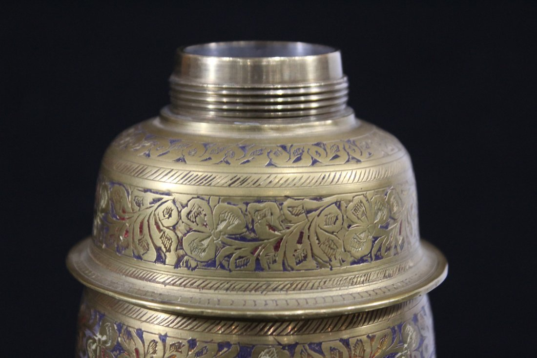 Intricate Incised and Enamel Brass COCKTAIL SHAKER - 7
