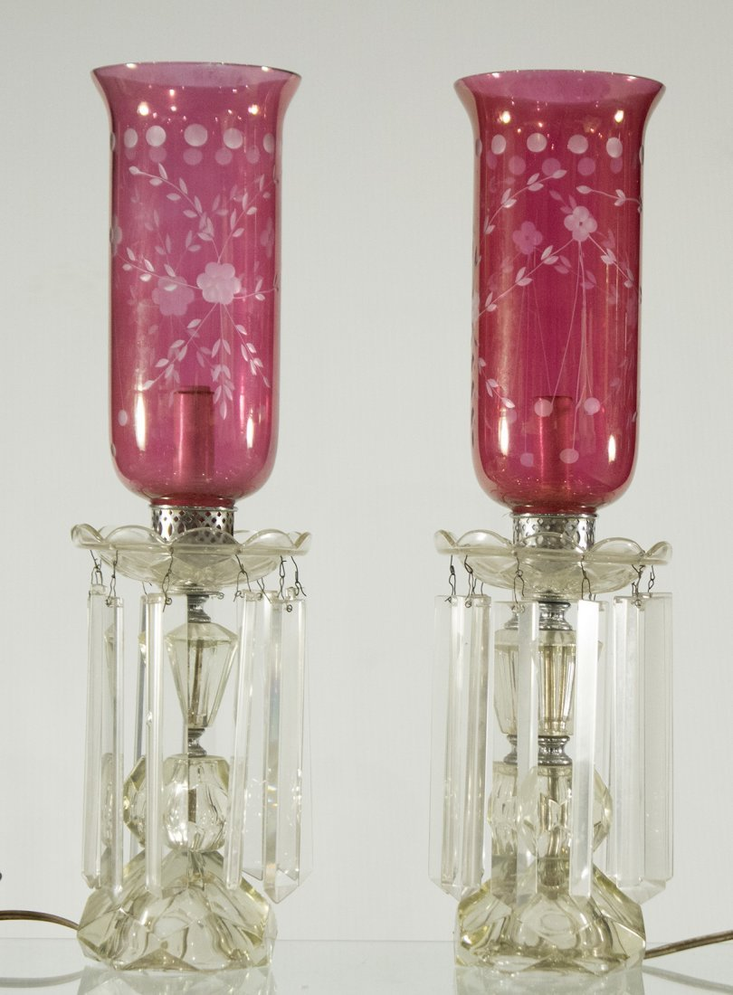 Pair CRANBERRY GLASS SHADES HURRICANE LAMPS PRISMS