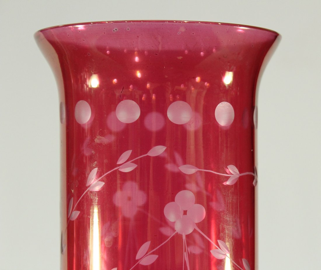 Pair CRANBERRY GLASS SHADES HURRICANE LAMPS PRISMS - 4