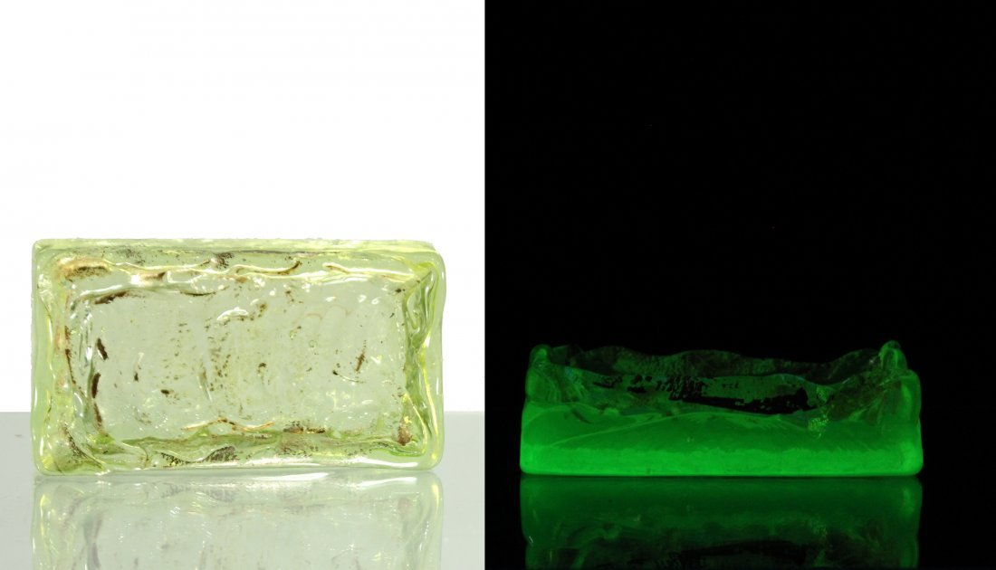 Uranium Glass Soap Dishes Green Fluoresce Under Light