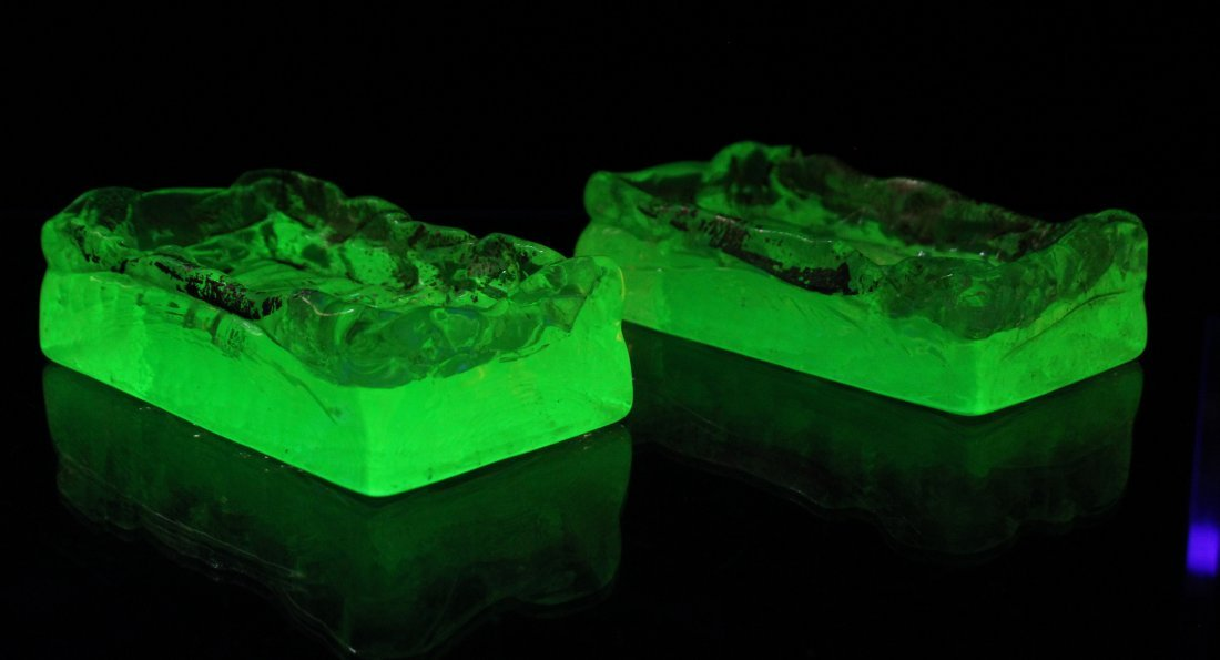 Uranium Glass Soap Dishes Green Fluoresce Under Light - 2