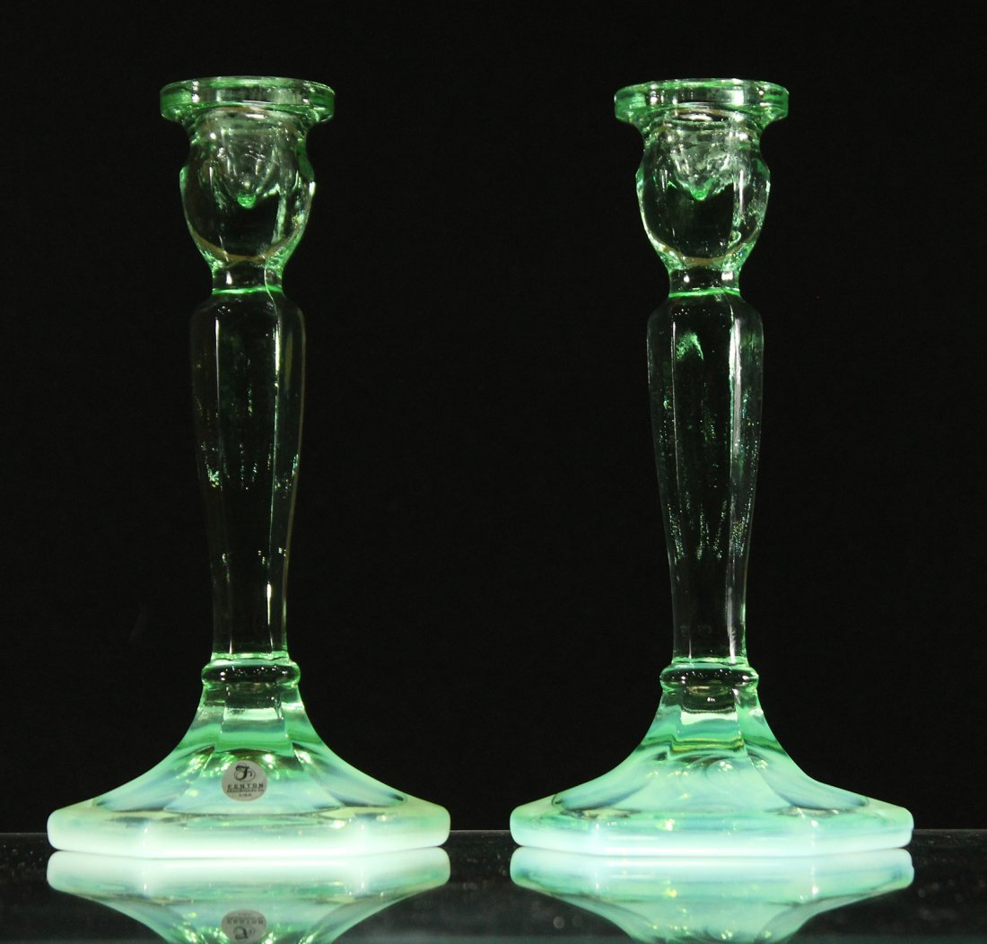 FENTON GLASS Pair Green Opalescent Tall Candlesticks