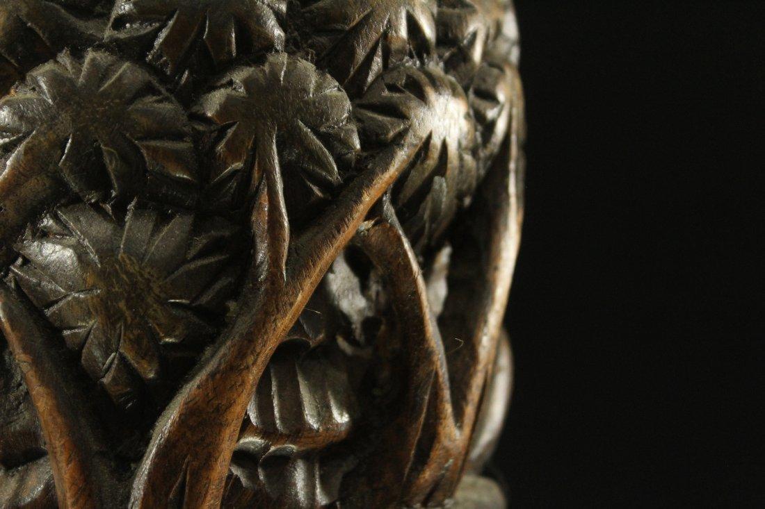 HAITIAN HAND CARVED TEAK WOOD VASE Elephant Jungle - 5