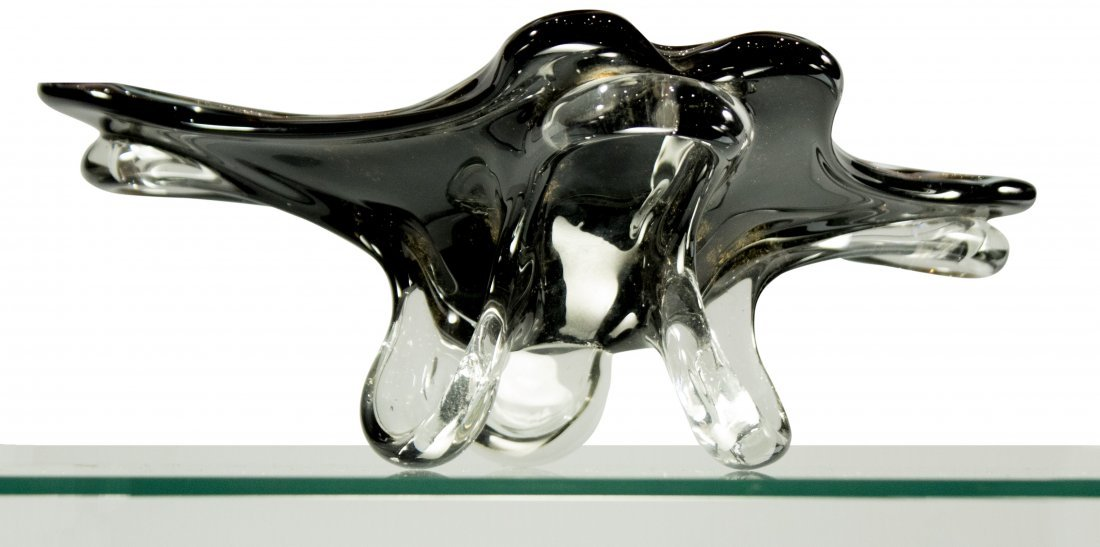 BALBOA Art Glass Free Form Bowl Black White Gold Dust - 2