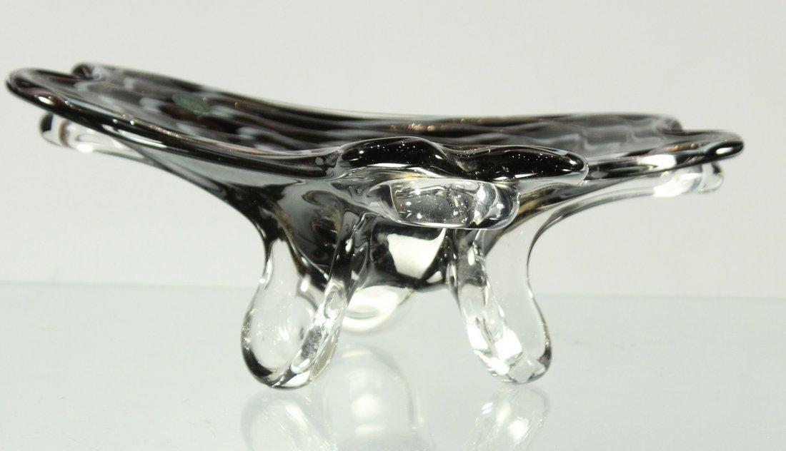 BALBOA Art Glass Free Form Bowl Black White Gold Dust - 4