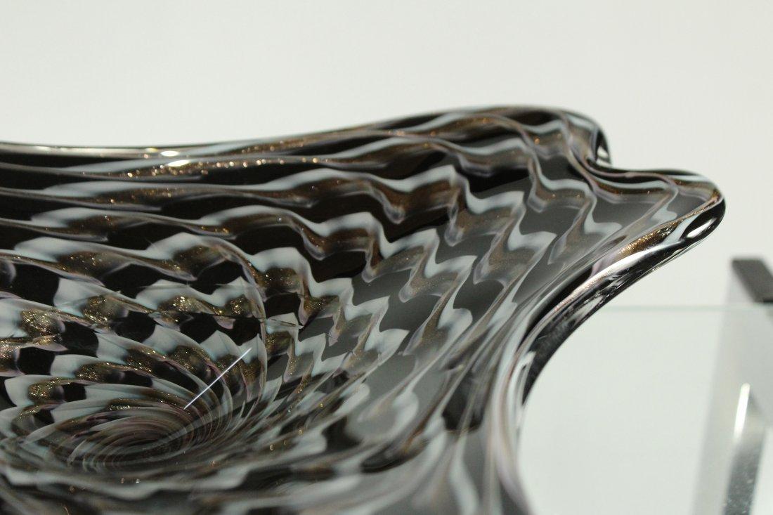 BALBOA Art Glass Free Form Bowl Black White Gold Dust - 5