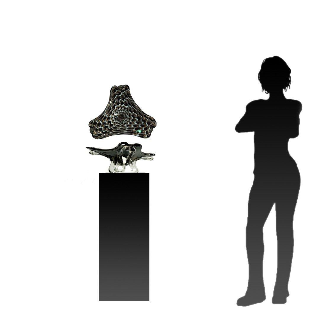 BALBOA Art Glass Free Form Bowl Black White Gold Dust - 8