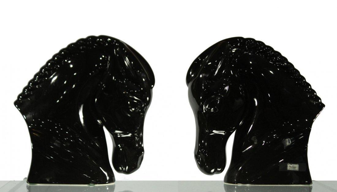ROYAL HAEGER [2] BLACK CERAMIC HORSE HEAD FIGURES 14 in