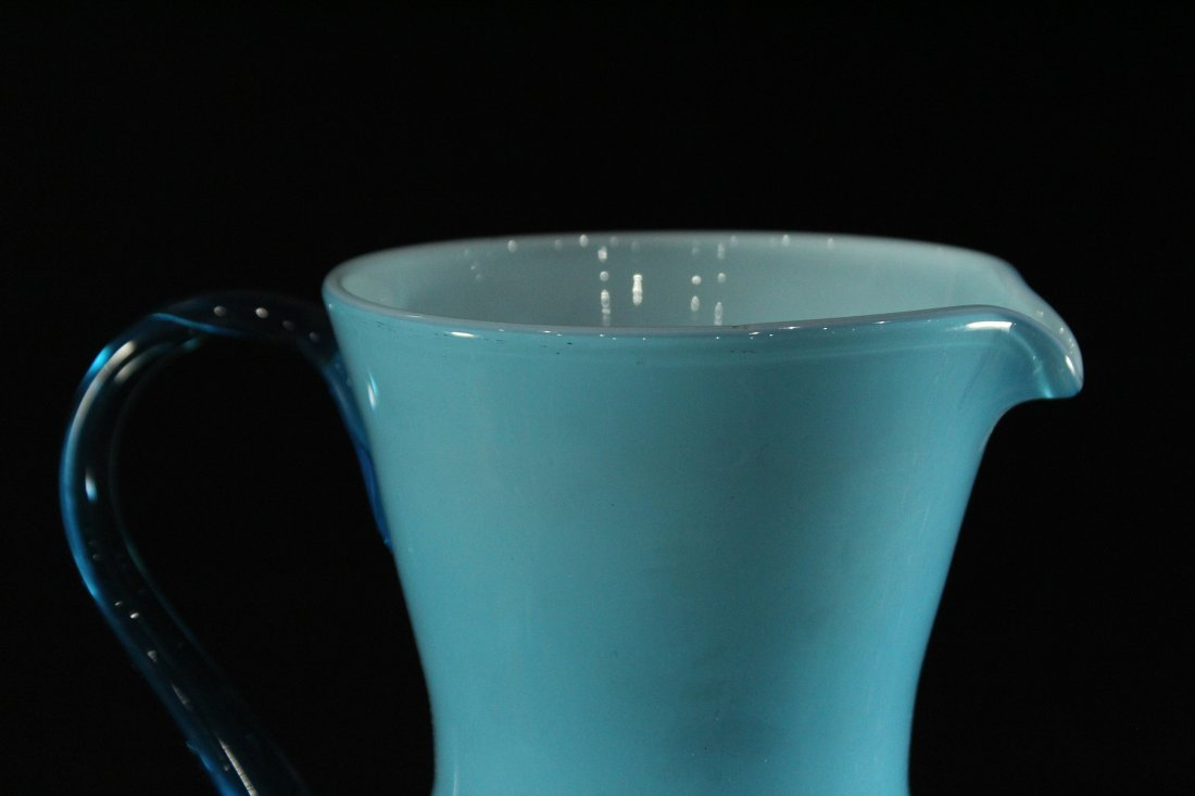 BALBOA Italian Blue Cased Glass Pitcher Ewer - 6
