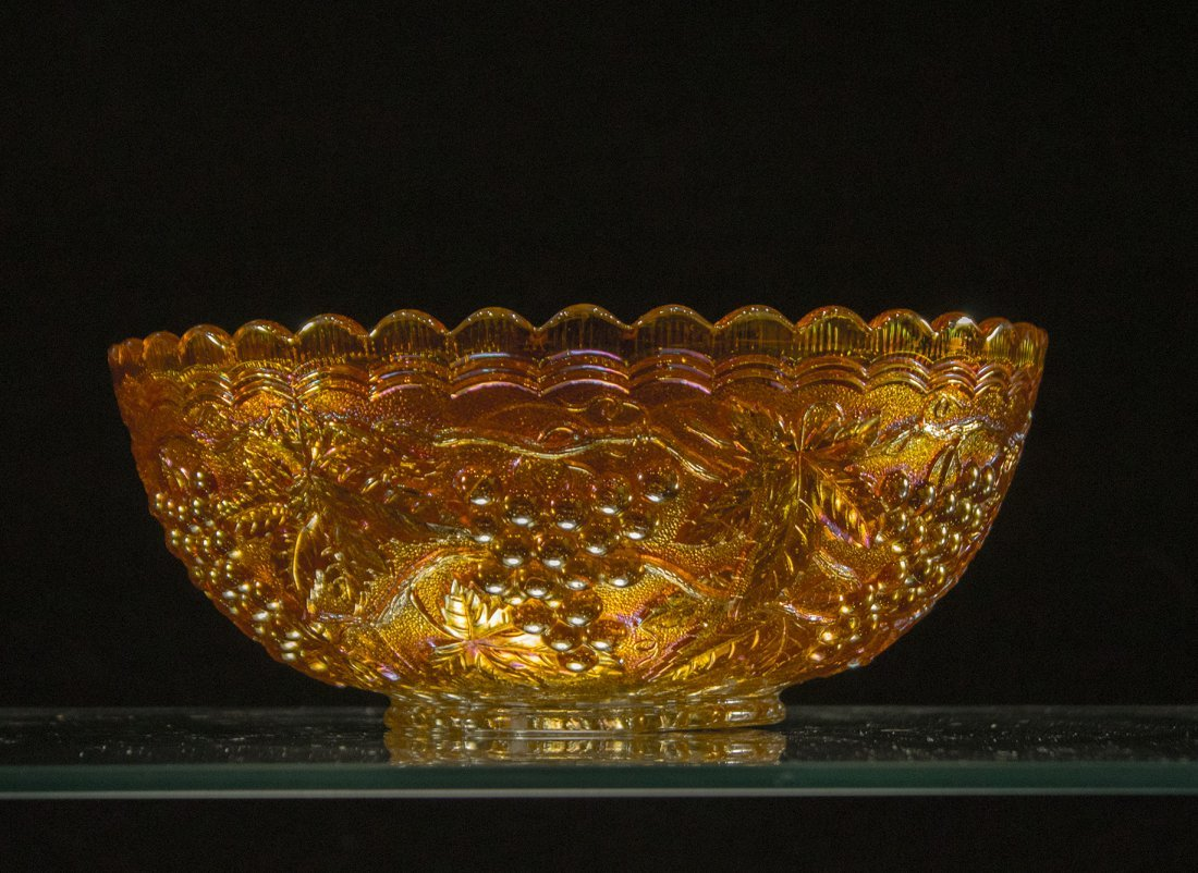 Antique Marigold Carnival Glass Bowl Grapes Pattern