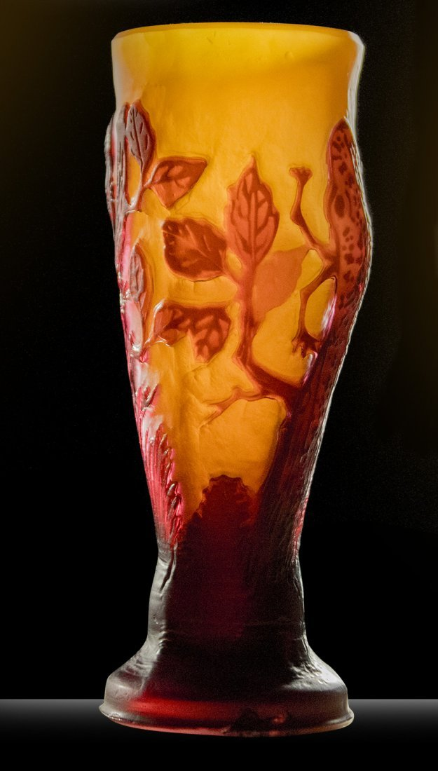GALLE 3-Color Cameo Art Glass Cabinet Vase