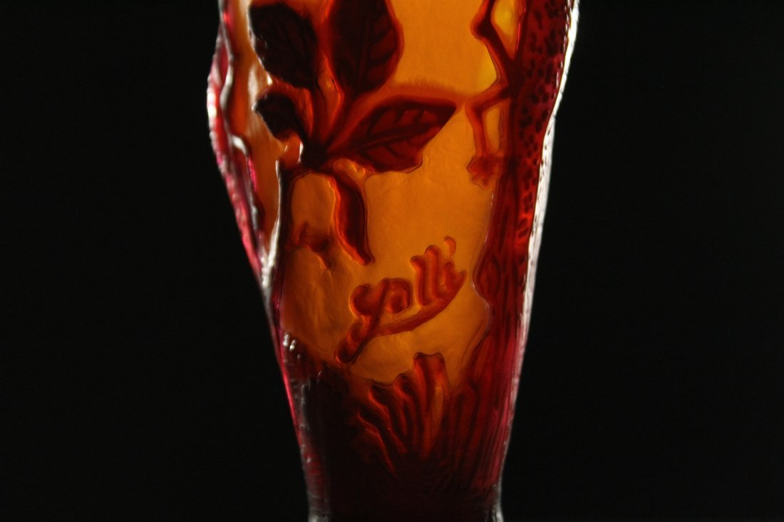 GALLE 3-Color Cameo Art Glass Cabinet Vase - 4