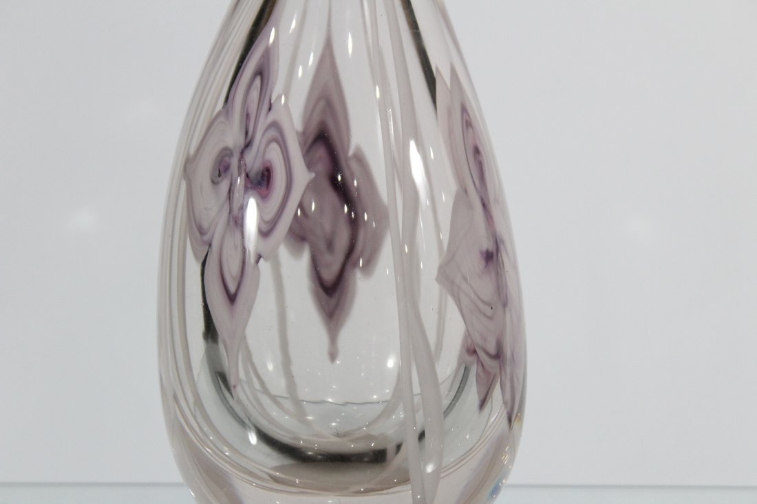 Mid Century FLOWER FORM ART GLASS VASE Signed ROTH JR - 3